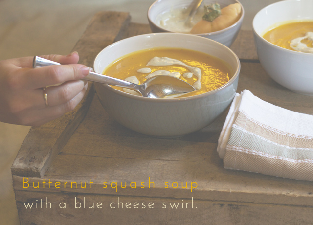 Roasted butternut squash soup with nutmeg & a blue cheese drizzle ...