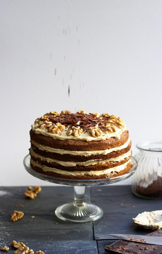 Coffee-walnut-four-tier-layer-cake