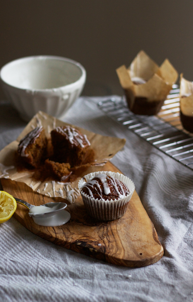 Gingerbread muffins with tart lemon glaze. | Cider with Rosie